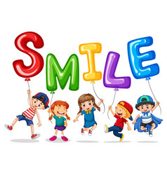 happy children and balloons for word smile vector image vector image