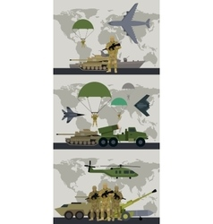 Military infographic banner with world map vector