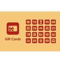 Set of gift cards simple icons vector image