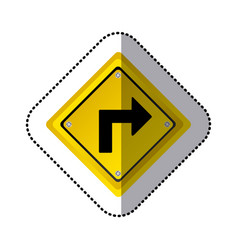 sticker yellow diamond frame turn right traffic vector image vector image