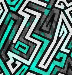 urban blue maze seamless pattern with grunge vector image