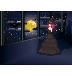 Witch on Balcony vector image vector image