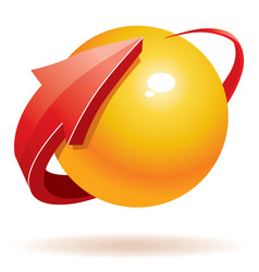 3d sphere and arrow vector image vector image
