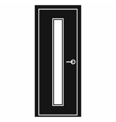 Black door with narrow glass icon vector image vector image
