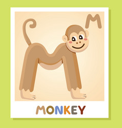 m is for monkey letter m monkey cute vector image vector image