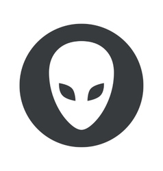 Monochrome round alien icon vector