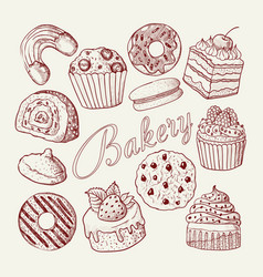 hand drawn bakery sweets desserts doodle vector image