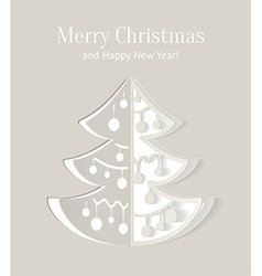 Paper cut-out christmas tree with smooth shadows vector