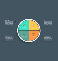 pie chart presentation template with 4 vector image vector image