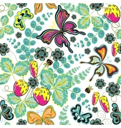 Seamless berries flowers and butterflies Hand vector image