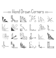 Set of 24 hand drawn corners and design elements vector image vector image