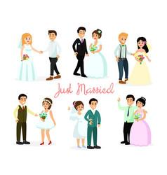 set of happy characters bride vector image
