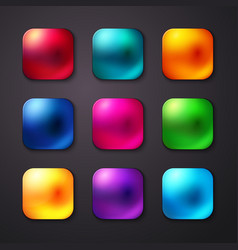 Set of realistic and colorful mobile app buttons vector image