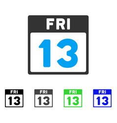 13 friday calendar page flat icon vector