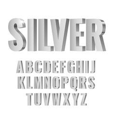 3d silver symbols alphabet vector image