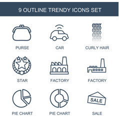 9 trendy icons vector image