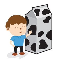 A Boy Standing With Carton Of Milk vector image