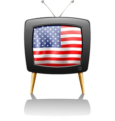 A television with the flag of the USA vector image