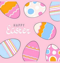 adorable easter eggs vector image