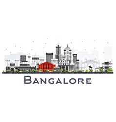 Bangalore india city skyline with gray buildings vector