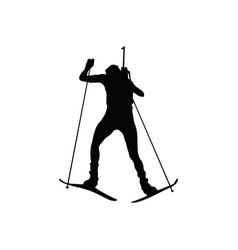 Biathlon sportsman silhouette vector