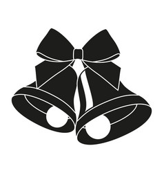 black and white two bells with ribbon bow vector image