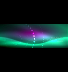 blue neon dotted circles abstract background vector image