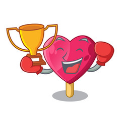 boxing winner the shaped heart ice cream mascot vector image