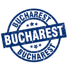 Bucharest blue round grunge stamp vector