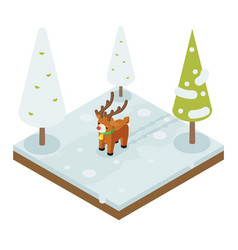cartoon deer walking winter wood forest isometric vector image