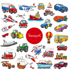 Cartoon transportation vehicle characters big set vector