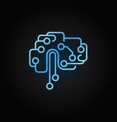Circuit tech brain outline blue icon ai vector