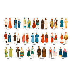 collection men and women dressed in folk vector image