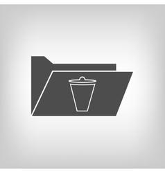 Computer folder with trash bin vector