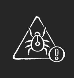 Computer virus chalk white icon on black vector