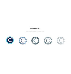 Copyright icon in different style two colored vector