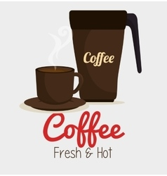 Cup coffee and plate graphic vector