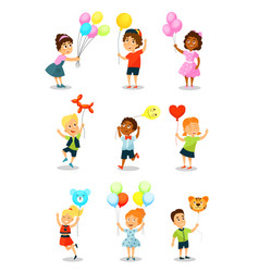 cute happy kid with balloons little boys and vector image