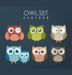 cute owls birds cartoon set vector image