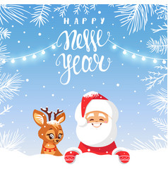 cute santa and deers vector image