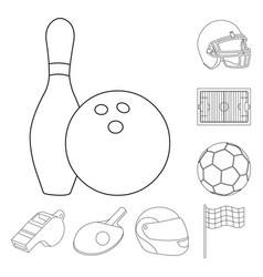 Different kinds of sports outline icons in set vector
