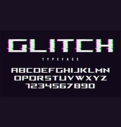 distorted glitch style font design alphabet vector image