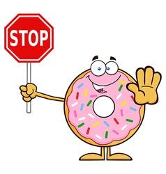 Donut Cartoon Holding a Stop Sign vector