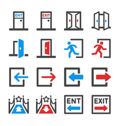 Entrance and exit icon set vector
