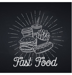 Fast food icon chalkboard style vector
