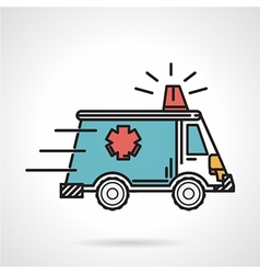 Flat color icon for ambulance car vector image vector image