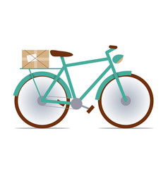 flat fixed-gear bike with a package vector image