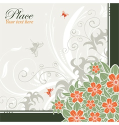 flower frame with butterflies vector image