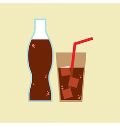 Glass and Bottle of Cola vector image