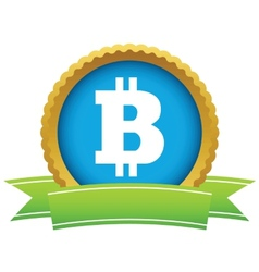 Gold Bitcoin logo vector image